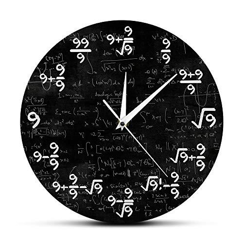 FPRW wiskundige gelijking acryl wandklok, de klok van de 9 S-formules, moderne wandklok ophangen, wiskunst in de klas, wiskunst