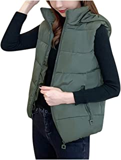 Holzkary Fashion Warm Sleeveless Cotton Vest Casual Slim-fit Vests Jacket Solid Color Pockets Coats for Women