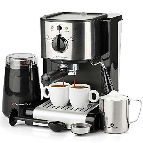 7 Pc All-in-One Espresso & Cappuccino Maker Machine Barista Bundle Set w/Built-in Steam Wand (Inc: Coffee Bean Grinder, Portafilter, Frothing Cup, Spoon w/Tamper & 2 Cups) (Black)