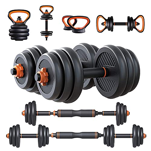 6 in 1 Adjustable Dumbbell Set of 2 Weight Pair , Free Weight ,Dumbellsweights Set 22/44/66/88 Lbs , Adjustable Kettlebell Barbell Set , for Home Gym and Workout Fitness Equipment for Men and Women