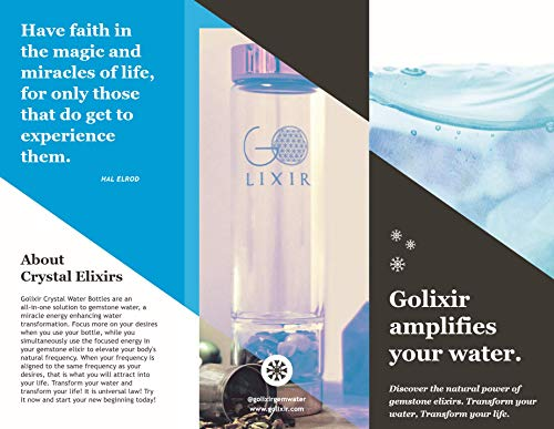 GOLIXIR Premium Crystal Water Bottle. The Essential All-in-One Solution to Gem Water, a Crystal Elixir Water Bottle for Everyone. Includes Optimized Gemstones and Crystals, a Tea Infuser & Pro Sleeve