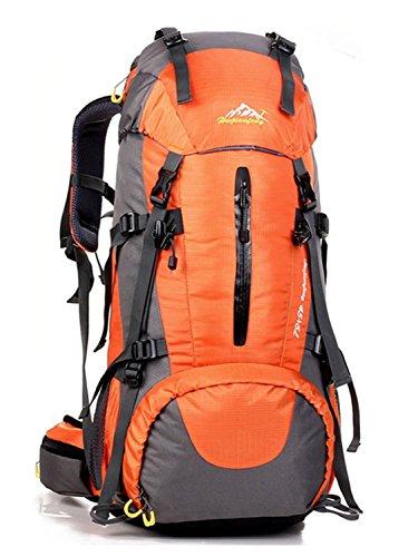 Minetom Sacs De Trekking 50L Adulte Extérieur Randonnée Camping Voyage Anti-Pluie Sports Imperméable Sac À Dos Orange One Size(30 * 20 * 60 cm)