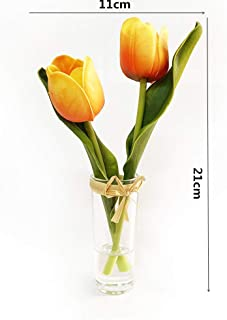 EBUYOM Mini Artificial Flowers Tulips Bouquet in Glass Vase,Mother's Day Present Home Ornament Wedding Decoration (Yellow)