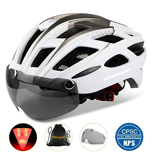 KINGLEAD Fahrradhelm mit Schild Visier, Unisex Geschützter Fahrradhelm für Fahrradfahren Racing Skateboarding Outdoors Sports Safety Superleichter Verstellbarer Fahrradhelm