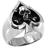 Tungsten Love JewelryWe New Punk Rock Style Stainless Steel Skull in Poker Spade Heart Men's Ring Engagement Wedding Band (UK Size R)