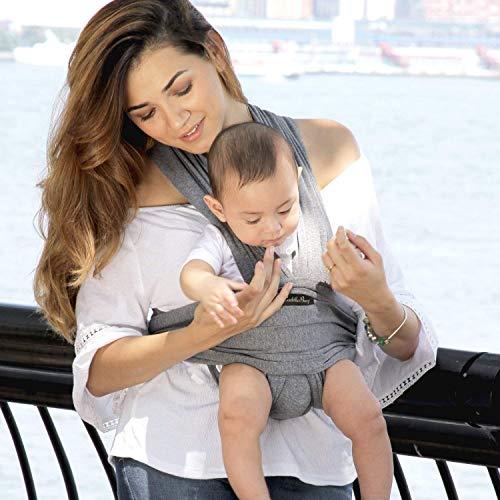 ❤️ Tragetuch Baby von Cuddlebug ❤️ mit Gratisversand – 5 Farboptionen – Baby Carrier Sling – Babytragetuch Neugeborene – Elastisches Tragetuch (Grau) - 6