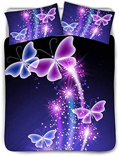 HUA JIE Purple Butterfly Duvet Cover Bed Set 3 Piece,Crystal Quilt Vintage Butterflies Bedding (1 Quilt Cover + 2 Pillow Case)