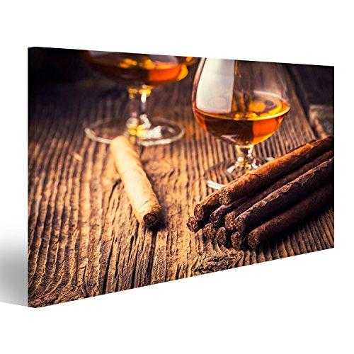 islandburner Quadri Moderni Sigari e Cognac su Un Vecchio Tavolo di Legno Stampa su Tela - Quadro x poltrone Salotto Cucina mobili Ufficio casa - Fotografica Formato XXL DMW