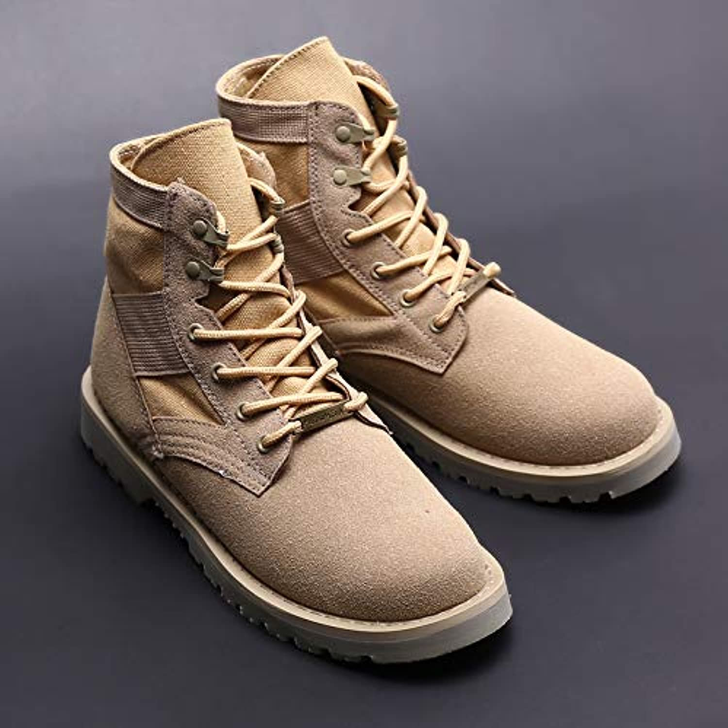 LOVDRAM Boots Men's Winter Desert Boots Men'S Couple Martin Boots Men'S Warm High-Top shoes Cotton Tooling Boots Wild Large Size Boots