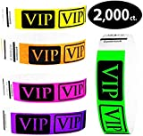 "Heavier Tyvek Wristbands 7.5 Mil – Goldistock VIP 2,000 Count Variety Pack B – ¾"" Arm Bands - 400 Each: Green, Yellow, Pink, Orange & Purple Paper-Like Party Armbands - Wrist Bands Events"
