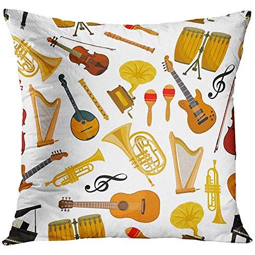 Kussensloop Muziekinstrumenten van Orchestra Harp Contrabass en Piano Maracas Saxofoon en Gramophone Cymbals Decoratieve Kussensloop Huisdecoratie Vierkant 18x18 Inch Kussensloop