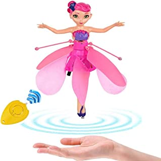 Minaliv Flying Fairy Doll Girl Infrared Sensor Control Remote Control Child Toy Flying Princess Doll (Pink)