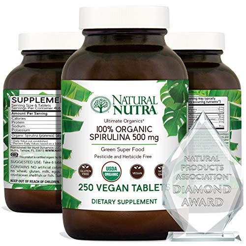 Natural Nutra 100% USDA Organic Spirulina Tablets, Blue Green Algae Protein Pills with Rich Minerals, Vitamins, Chlorophyll, Amino Acids, Carotenoids, Antioxidants and EFAs, 3000 mg, 250 Vegan Tablets