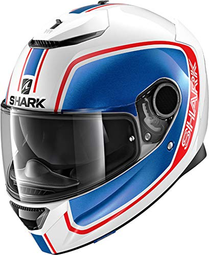 SHARK NC Casco per Moto, Hombre, Blanco/Azul/Rojo, M