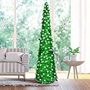 Fonder Mols 5ft Artifitial Green Christmas Snow Tree, Collapsible Pop Up Green Tinsel Coastal Xmas Snowflake Tree for Holiday Frozen Party Decorations