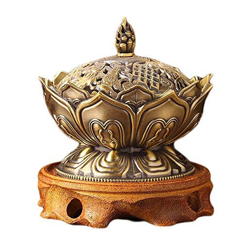 No-Branded Incense Holder Alloy Incense Burner Ornament Chinese Buddha Incense Holder Lotus Flower Censer Teahouse Use Home Bedroom Office Teahouse Decor WZCUICAN (Color : B)