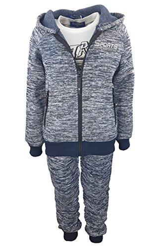 Fashion Boy 3tlg. Warmer Jungen Freizeitanzug in Blau, Gr. 122, JF6031.8