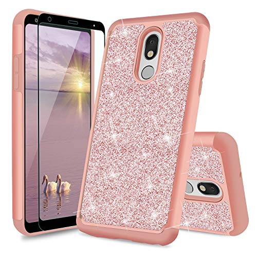 TJS Phone Case Compatible with LG Stylo 5/LG Stylo 5 Plus/LG Stylo 5V/LG Stylo 5X, [Full Coverage Tempered Glass Screen Protector] Glitter Bling Cute Girls Women Design Dual Layer Hybrid (Rose Gold)