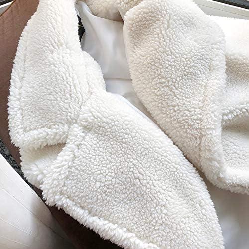 SHOUBANG Mantel Wintermantel Damen Kunstpelzmantel Langer Pelzmantel Teddy Jacke Lose Revers Flauschigen Mantel Sowie Dicke Warme Und Flauschige Winter B-L