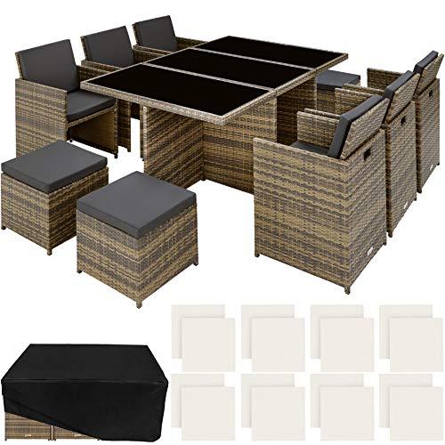TecTake 800855 Set di Mobili da Giardino Poli Rattan, Alluminio Arredamento Set 6X Sedie 1x Tavolo 4X Sgabelli, Involucro Protettivo, Viti in Acciaio Inox, Nuovo (Naturale)
