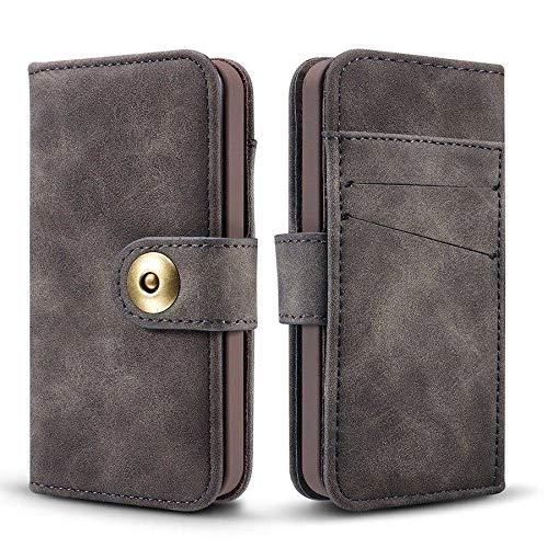 HHF Accesorios para iPhone 12 Mini 12 Pro MAX, Desmontable la Cubierta del Caso con el Caso de la PU + Caja del Metal Botón de Cuero Genuino para iPhone 11 Pro MAX