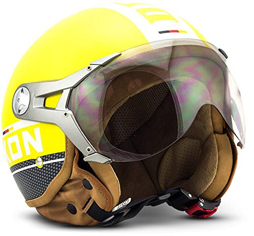 SOXON SP-325-PLUS Yellow · Vespa Scooter Biker Chopper Helmet Mofa Retro Urban Moto motocicleta Bobber Urbano Piloto Casco Demi-Jet Cruiser Vintage · ECE certificado · incluyendo parasol · incluyendo bolsa de casco · Amarillo · L (59-60cm)