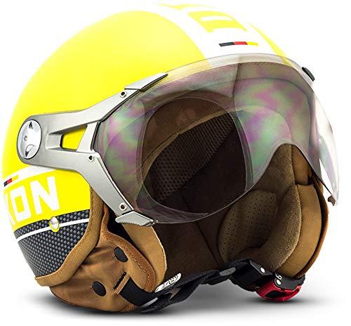 "SOXON® SP-325 Plus ""Yellow"" · Jet-Helm · Motorrad-Helm Roller-Helm Scooter-Helm Moped Mofa-Helm Chopper Retro Vespa Vintage Pilot Biker Helmet · ECE 22.05 Visier Schnellverschluss Tasche S (55-56cm)"