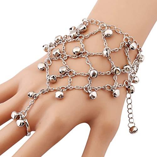Hwjmy Pulsera de dedo con colgante de punk, diseño de campana, bohemio, cruz de red, pulsera de cadena para mujer