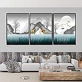 RTAGBFND Arte abstracto de pared animal ciervos póster imágenes decoración de la pared arte de la pared pintura de del barco del sol decoración de la habitación de la hoja dorada-40x60cmx3 Sin marco