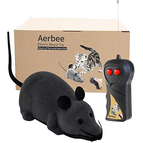 Aerbee Remote Control Mouse Toy, Electronic RC Rat Flocking Mouse Toy Interactive Cat Toys Pet Toys for Cat Dog Kid