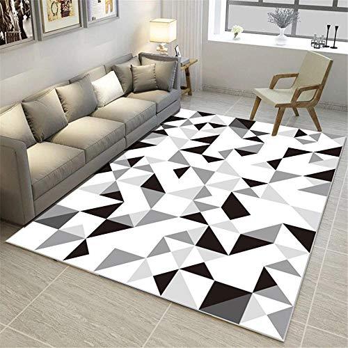 Kunsen Tappeti Lavabile Tappeto Tappeto da Salotto Moderno con Motivo a Triangolo Geometrico Bianco Grigio Nero Interno Lavabile divani Tappetto 100 * 200cm