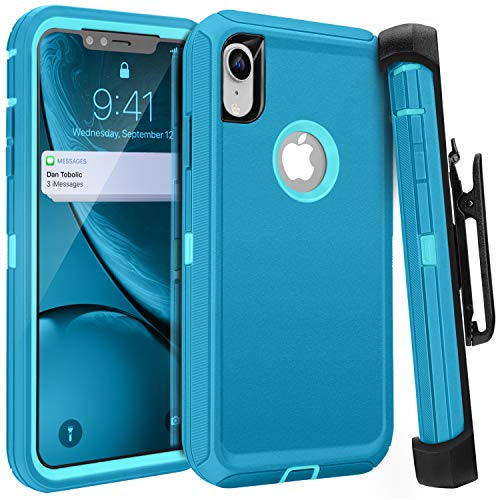 iPhone XR Case,FOGEEK Belt Clip Holster Heavy Duty Kickstand Protective Cover [Dust-Proof] [Shockproof] Compatible for Apple iPhone XR [6.1 inch] (Tea Blue1 / Light Blue2)