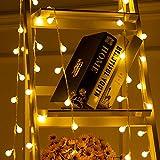 Briignite 40 luces LED de globo, cadena de luces de 5 m de color blanco cálido, funciona con pilas, 2 modos de iluminación, decoración para árbol de Navidad, bodas, fiestas de cumpleaños, festivales