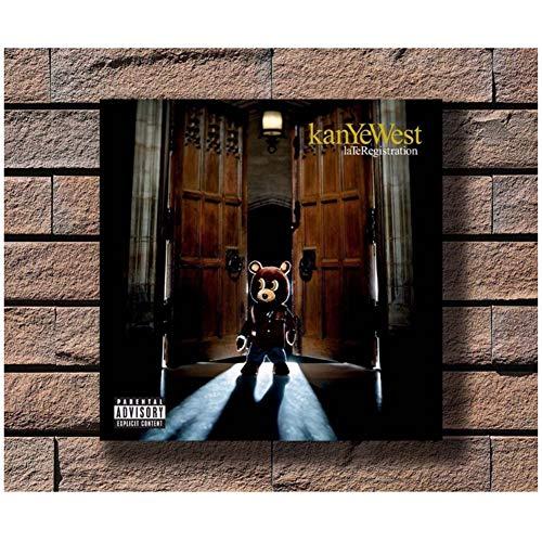 Kanye West Late Registration Music Album Rap Star Poster Art Canvas Print para sala de estar Decoración para el hogar -50x50cm Sin marco