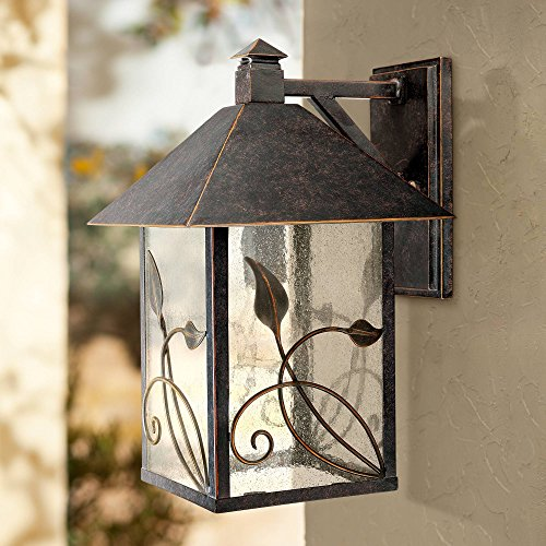 French Garden Country Cottage Outdoor Wall Fixture Bronze Leaf and Vine Motif 15