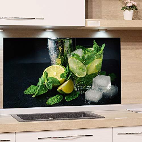 GRAZDesign Küchenrückwand Glas Cocktail - Spritzschutz Küche Glas Limetten - Glasrückwand Küche Caipirinha / 100x60cm