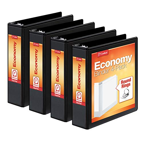 Cardinal 2 Inch 3 Ring Binder, Round Ring, Black, 4 Pack, Holds 475 Sheets (79522)