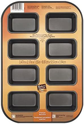 Baker's Secret 1114433 Essentials 8-Well Loaf Pan, Mini