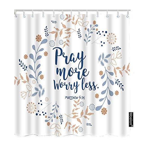 Moslion Pray More Worry Less Shower Curtain Floral Wreath Bible Quote Christian Verse Faith Style FunnyShowerCurtain for Bathroom Decoration Polyester 72Wx84H Inch