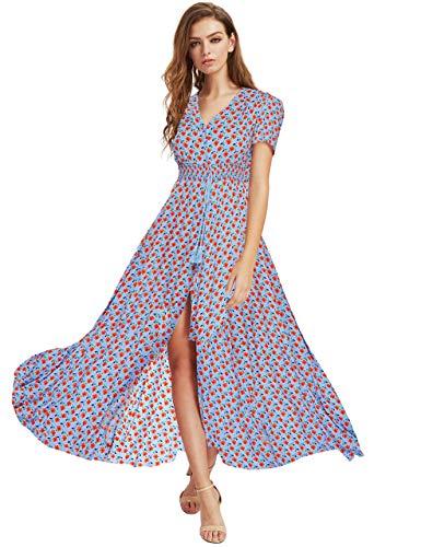Milumia Women Button Up Floral Print Party Split Flowy Maxi Dress Blue Large