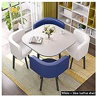 家庭用木製ダイニングテーブルと椅子 レジャー受付・椅子 バルコニーリビングルームラウンジ 80cm1テーブルと椅子4脚 レザーシート 錬鉄製フレーム レトロオフィスラウンジチェア (Color : White+blue)