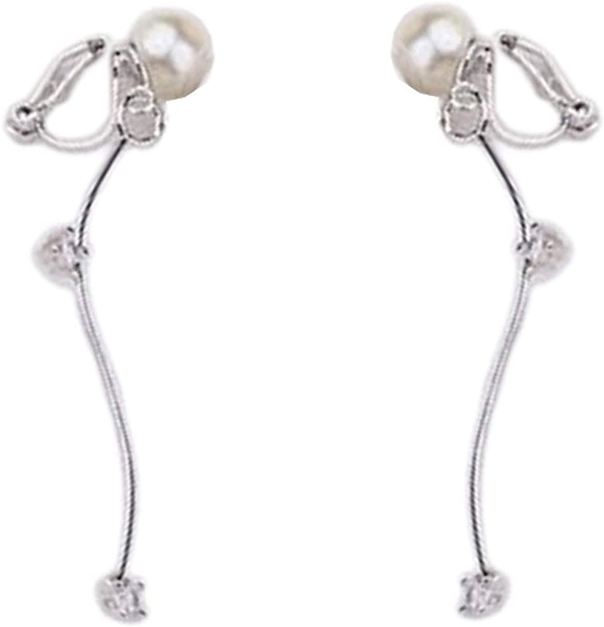 Simple Long S Shaped Clip on Dangle Earring Clips for non Pierced Cubic Zirconia Simulated Pearl Women