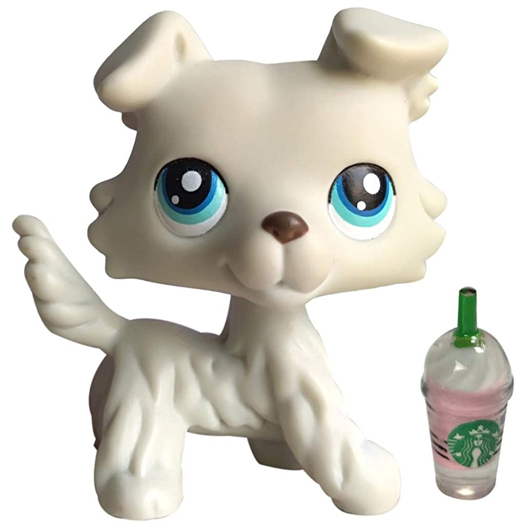 Cute Puppy lps Collie #363, lps Puppy Gray with lps Accessories Clear Peg Magnet Foot Clear Peg Rare Figures Collectable