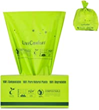 LiveComfort 100-Count 100% Compost Bags, Extra Thick 0.71 Mil, 2.6 Gallon, Small Kitchen Trash Bags, US BPI&ASTM6400 Certified Biodegradable Trash Bags, Compostable Bags and Dog Poop Bags