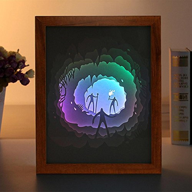 OOFAY LIGHT Schatten Papier Geschnitzte Lichter 3D Nachtlicht LED Stereo Zeichen Nachttischlampe Romantisches Romantisches Geschenk