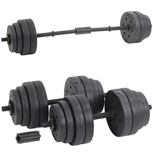 Hardcastle 30Kg Adjustable Dumbbell Barbell Weight Set - Black