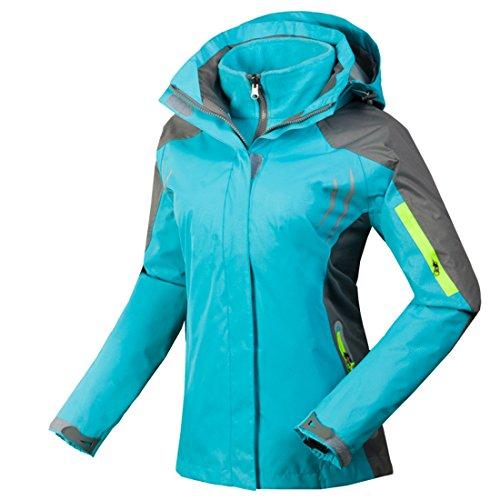 CIKRILAN Damen 3in1 Winddicht Wasserdicht Atmungsaktiv Outdoor Jacke Funktions Sport Camping Wandern Trekking Mantel (Medium, Blau)