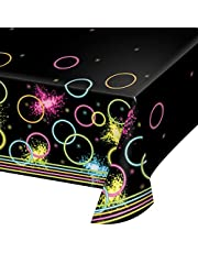 Creative Converting All Over Print Plastic Tablecover, 54 x 102-Inch, Glow Party