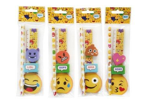 Lote de 24 Sets de 5 Pcs Papelería Emoticonos De Regalo - Regalos, recuerdos y Detalles Originales Niños Comuniones Cumpleaños, Fiestas Colegios Emojis, Papeleria Barata