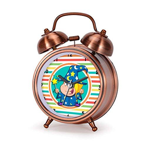 GIRLSIGHT Alarm Clock for Bedroom, Silent Non Ticking Double Twin Bell Child Alarm Clock Loud Home Alarm Clock with Kid Wizard on Bright Rainbow Stripes Dial